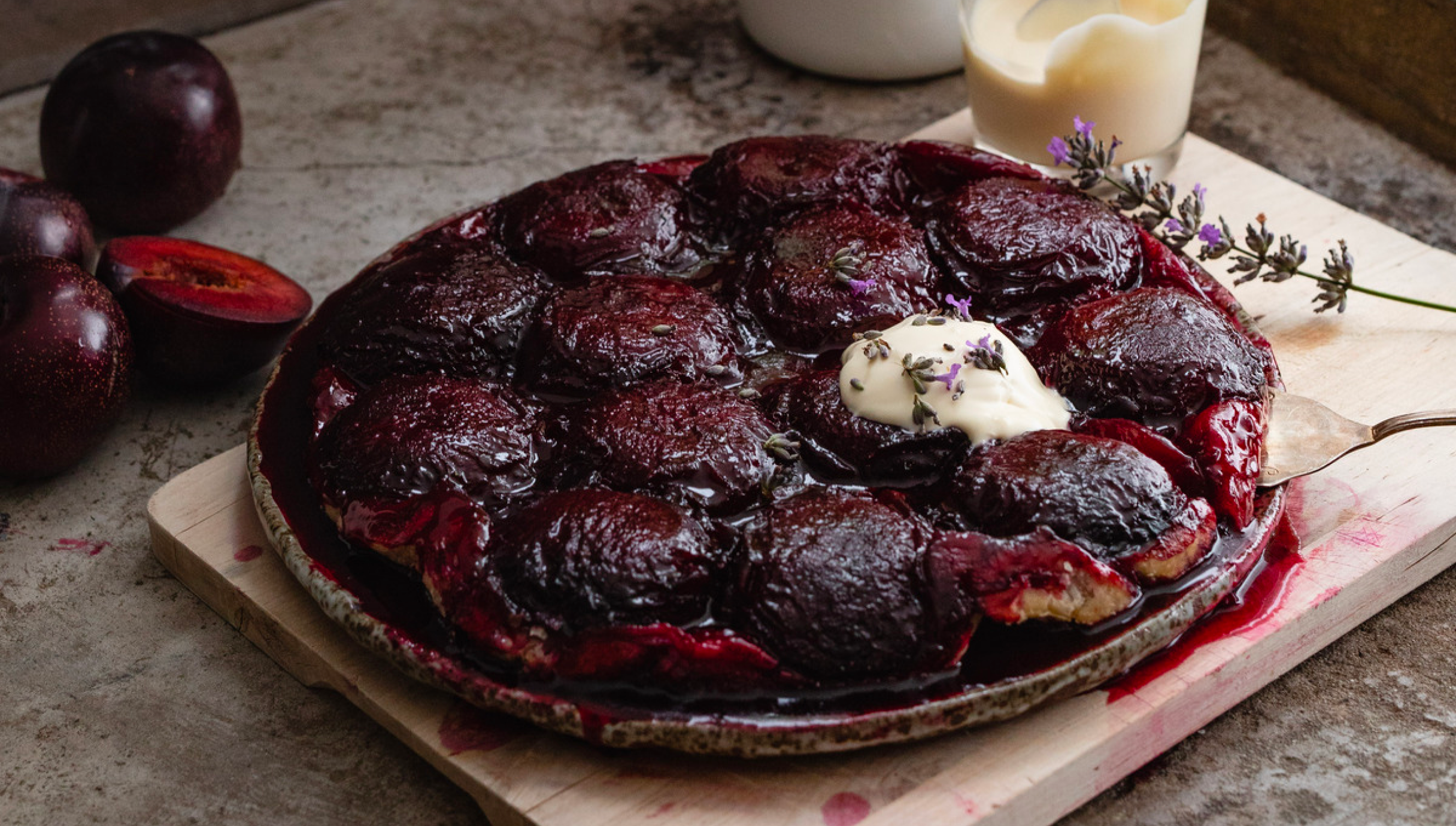Queen Garnet plum tarte tatin ready to be served