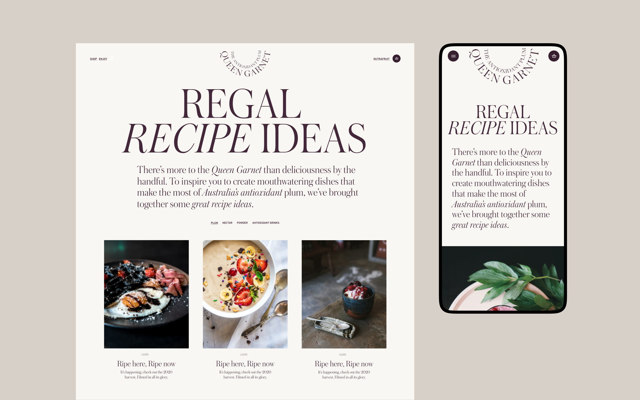 Desktop and mobile screen of the Queen Garnet website recipe page