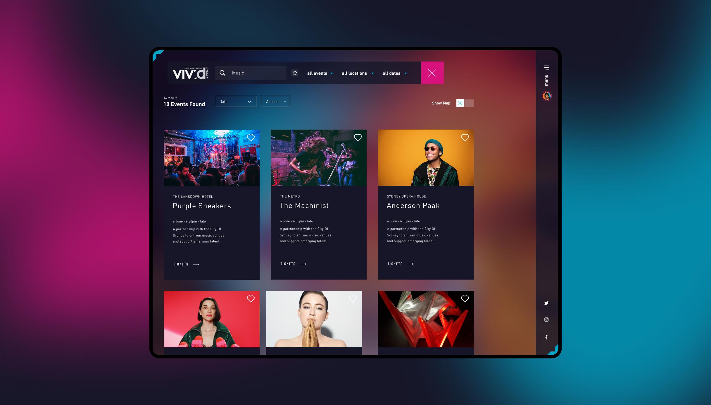 Vivid Sydney desktop screen showcasing search