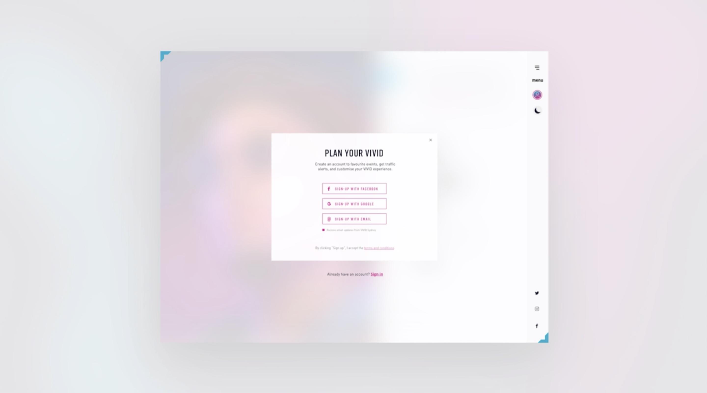 Vivid Sydney website desktop login overlay