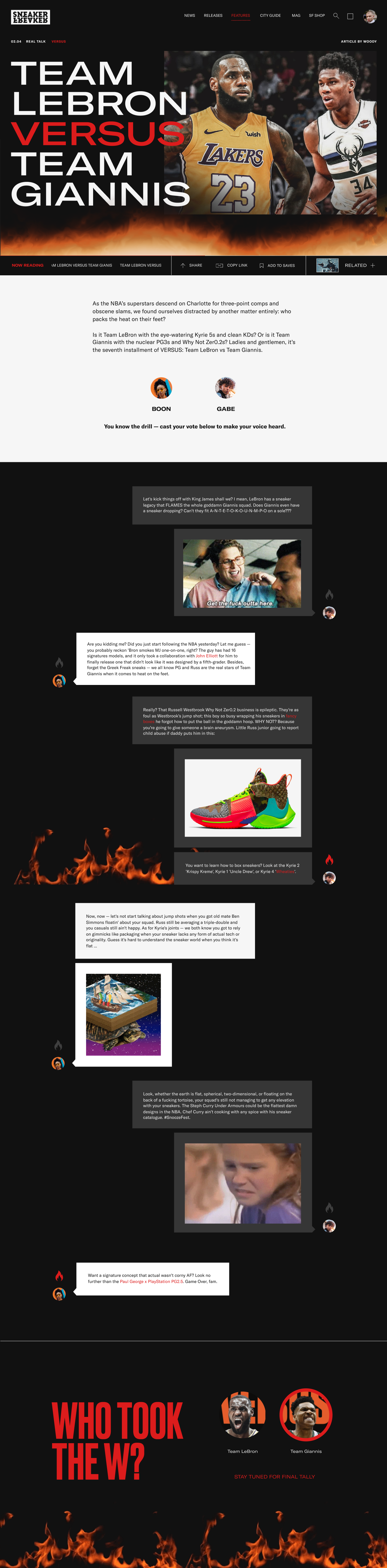 Full screen screen of a Versus article from sneakerfreaker.com