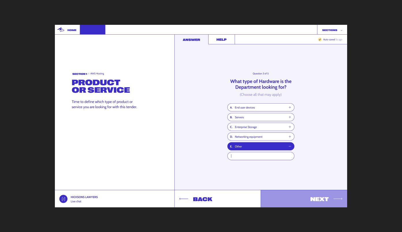 New Blue Husky desktop design, showcasing the question flow for a legal contract