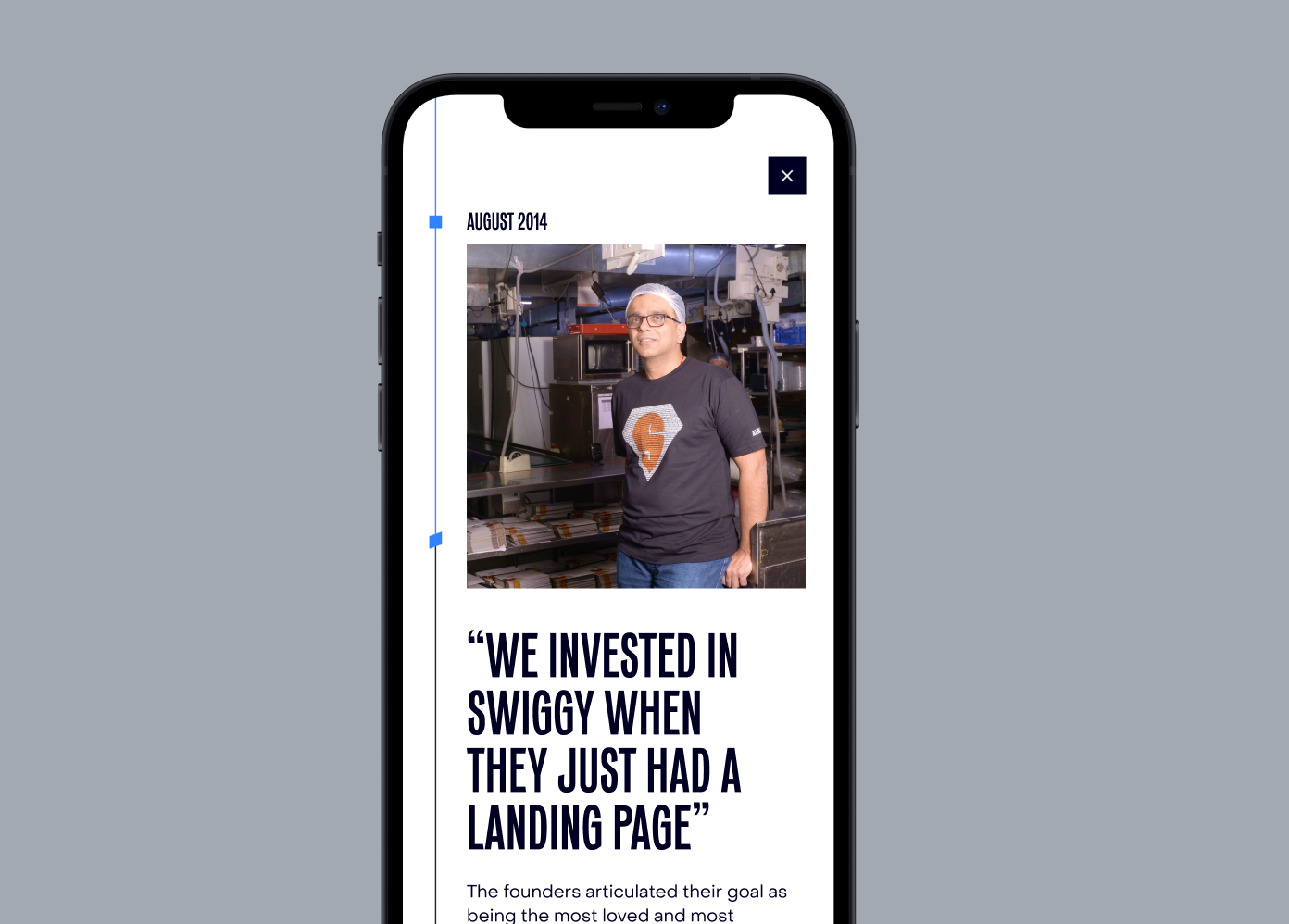 New Elevation Capital mobile design, showcasing a large pull quote module