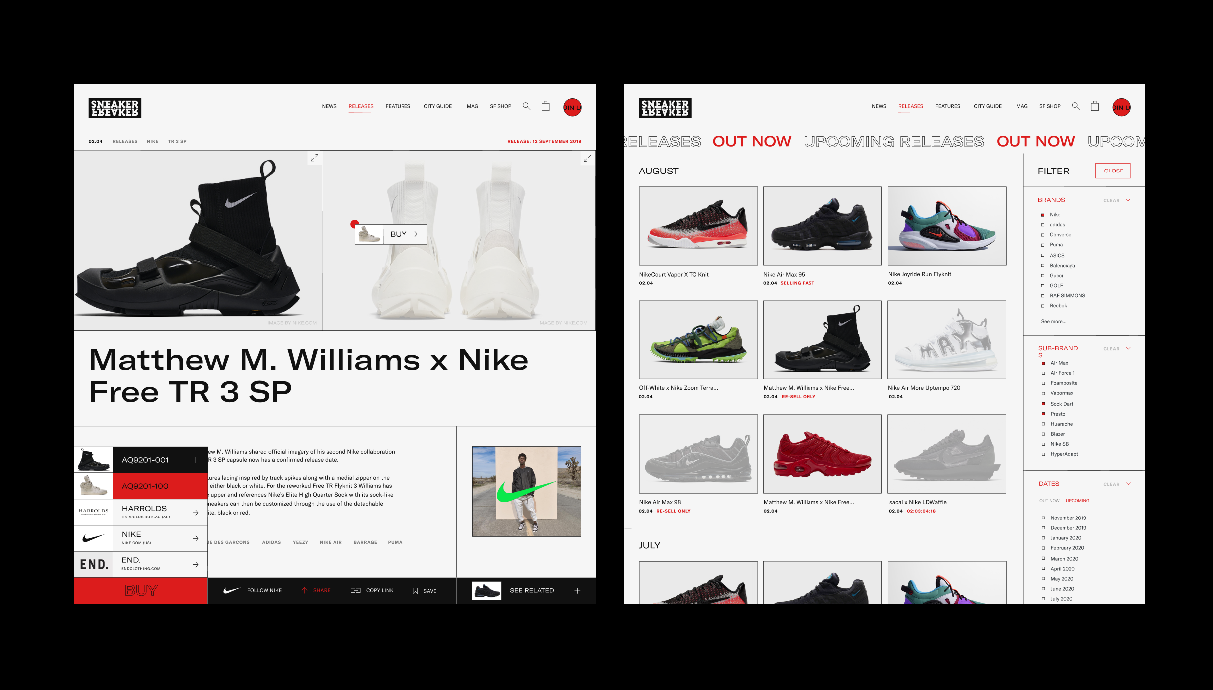 Screens showing release article and releases page