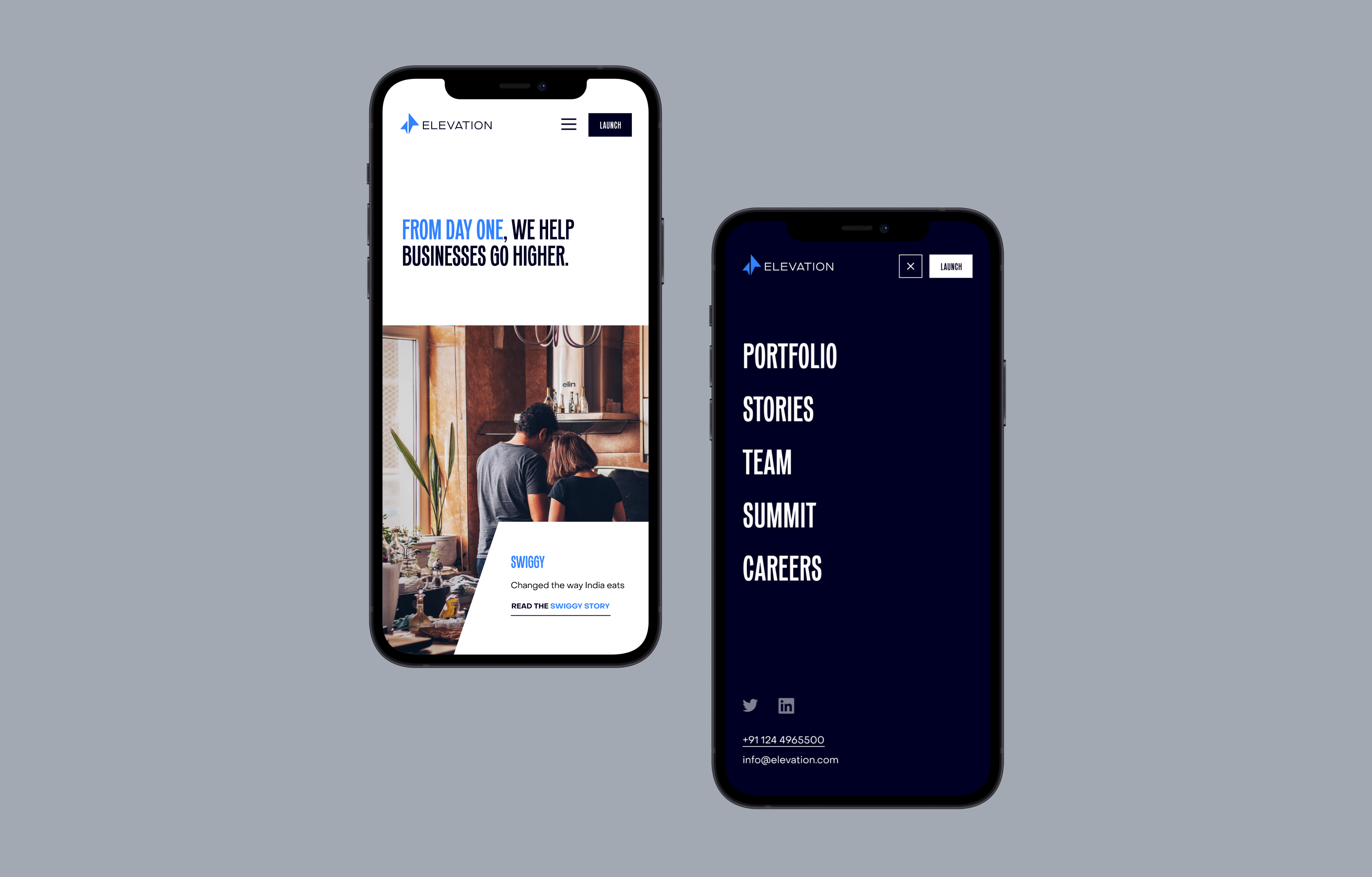 Two iPhones side by side showcasing the Elevation Capital homepage and mobile menu