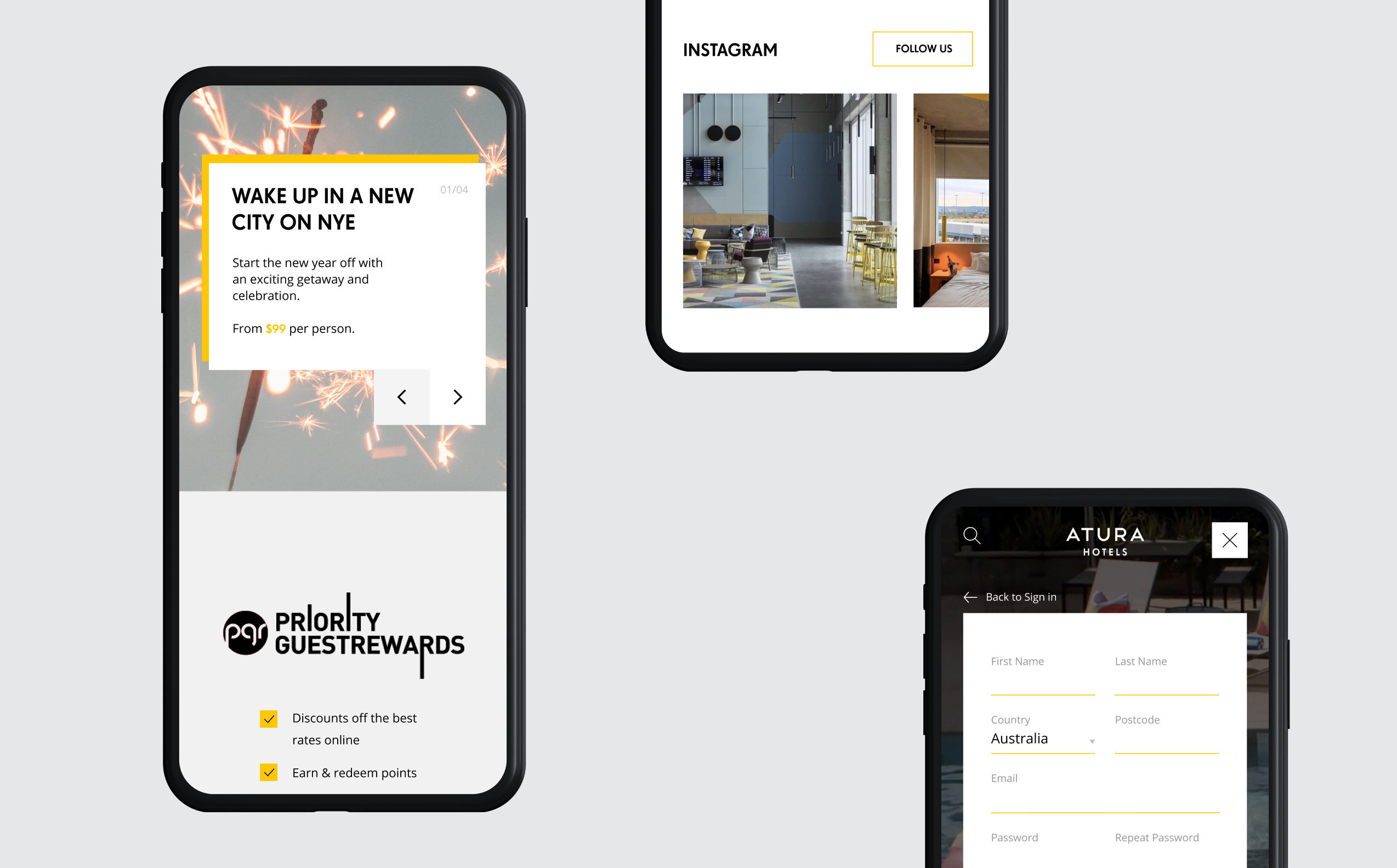 Three mobile website screens showcasing the new EVENT Atura design system