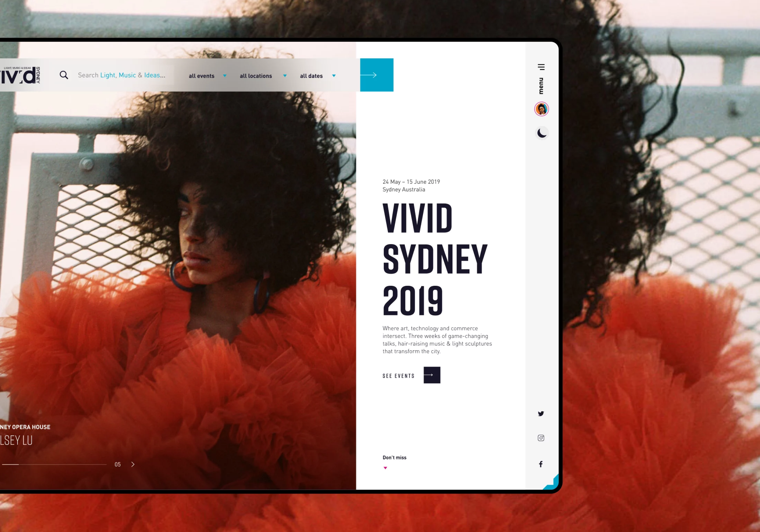 Vivid Sydney 2019 homepage with background image of musical artist