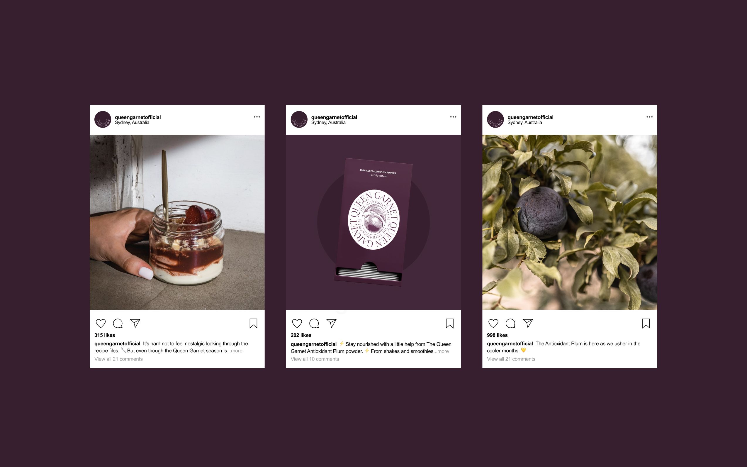 Three Queen Garnet instagram posts