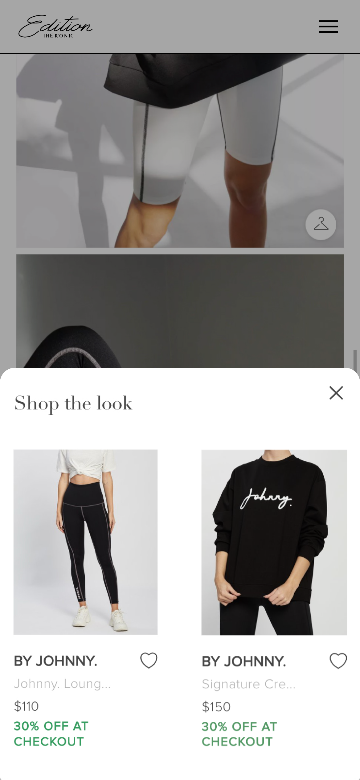 Edition by THE ICONIC 'shop the look' ecommerce tray - allowing users to purchase directly from an editorial image
