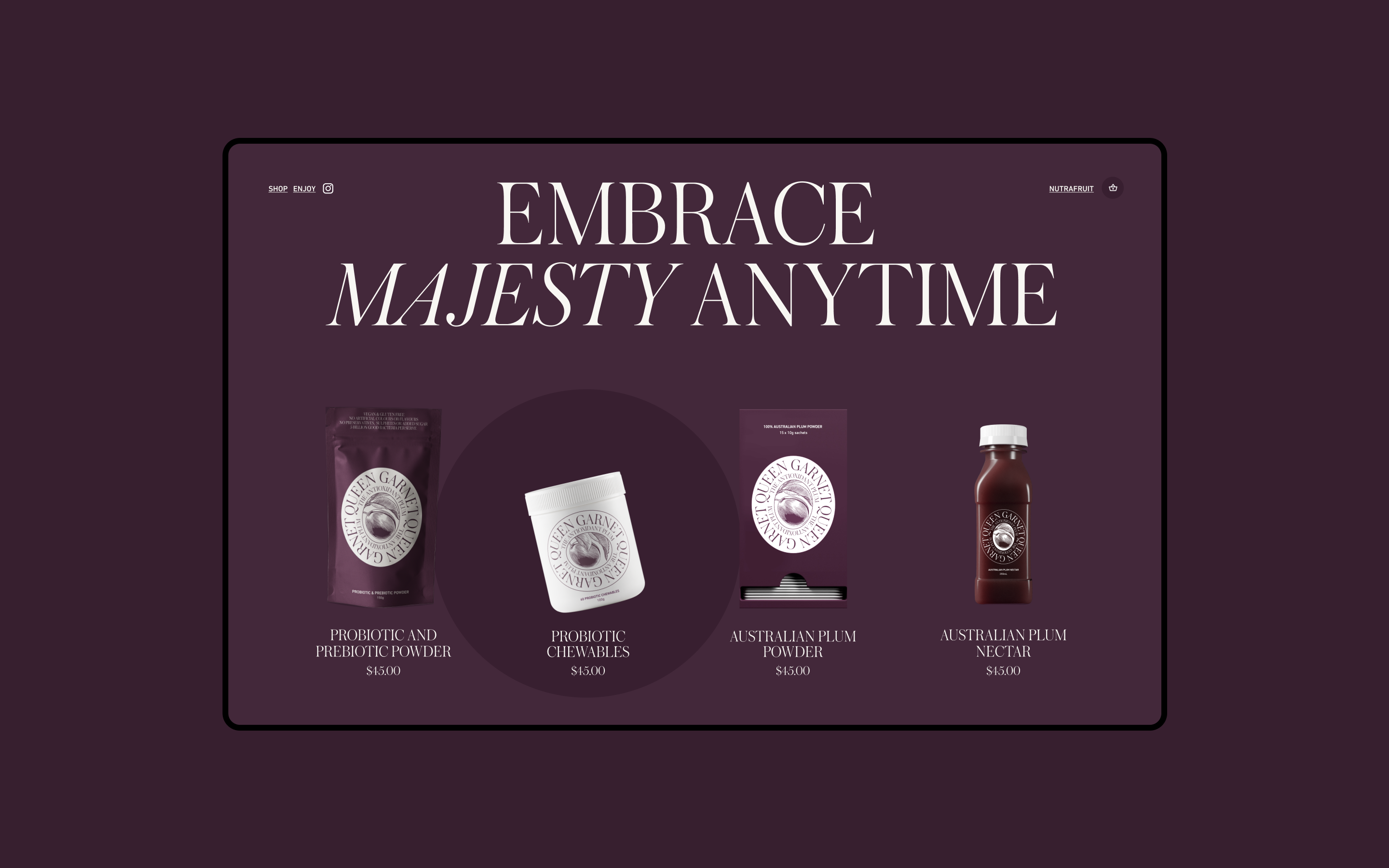 Screenshot of Queen Garnet website homepage, showing all four products