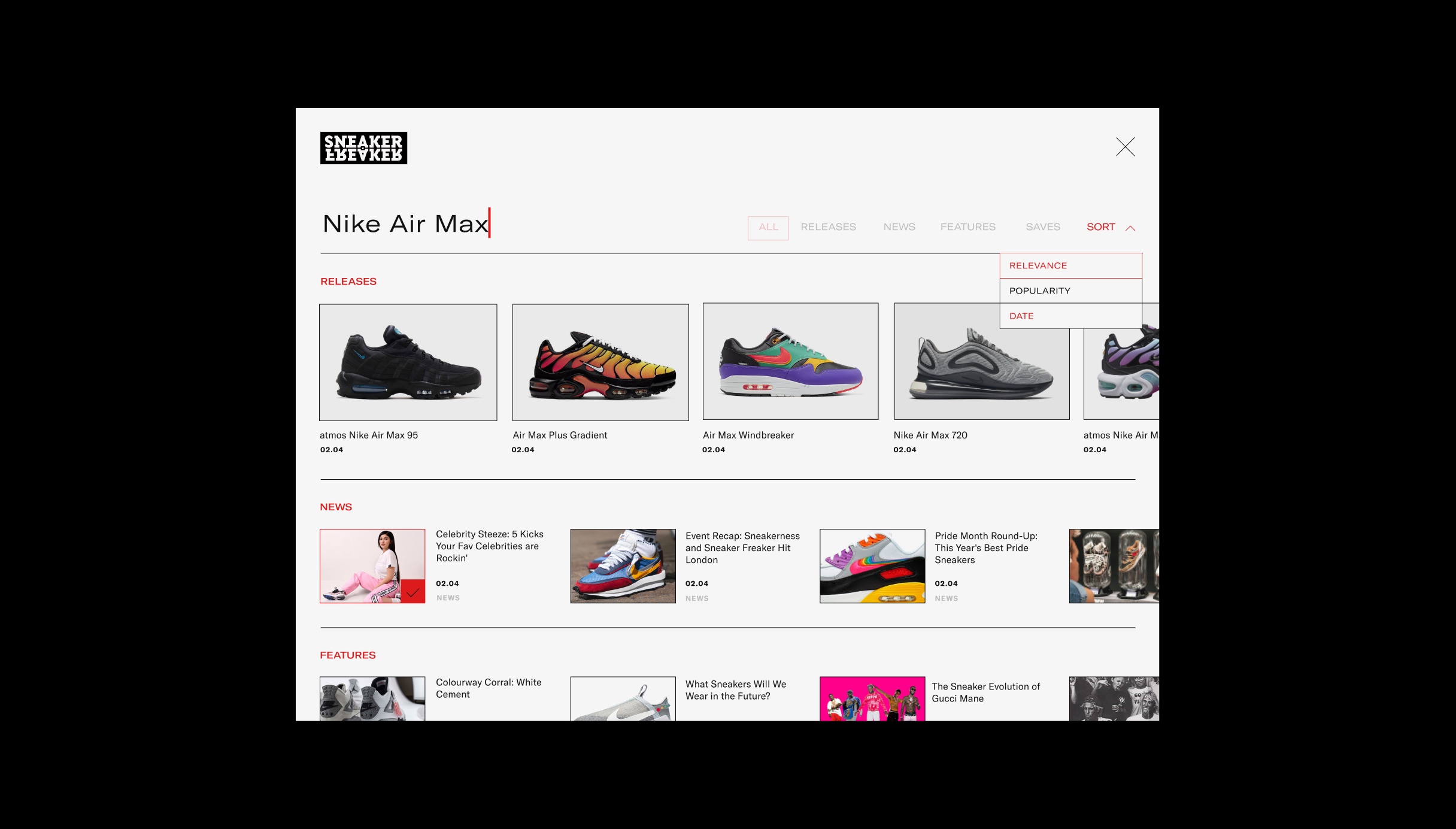 Sneaker Freaker websites new search, showing multiple images in carousels