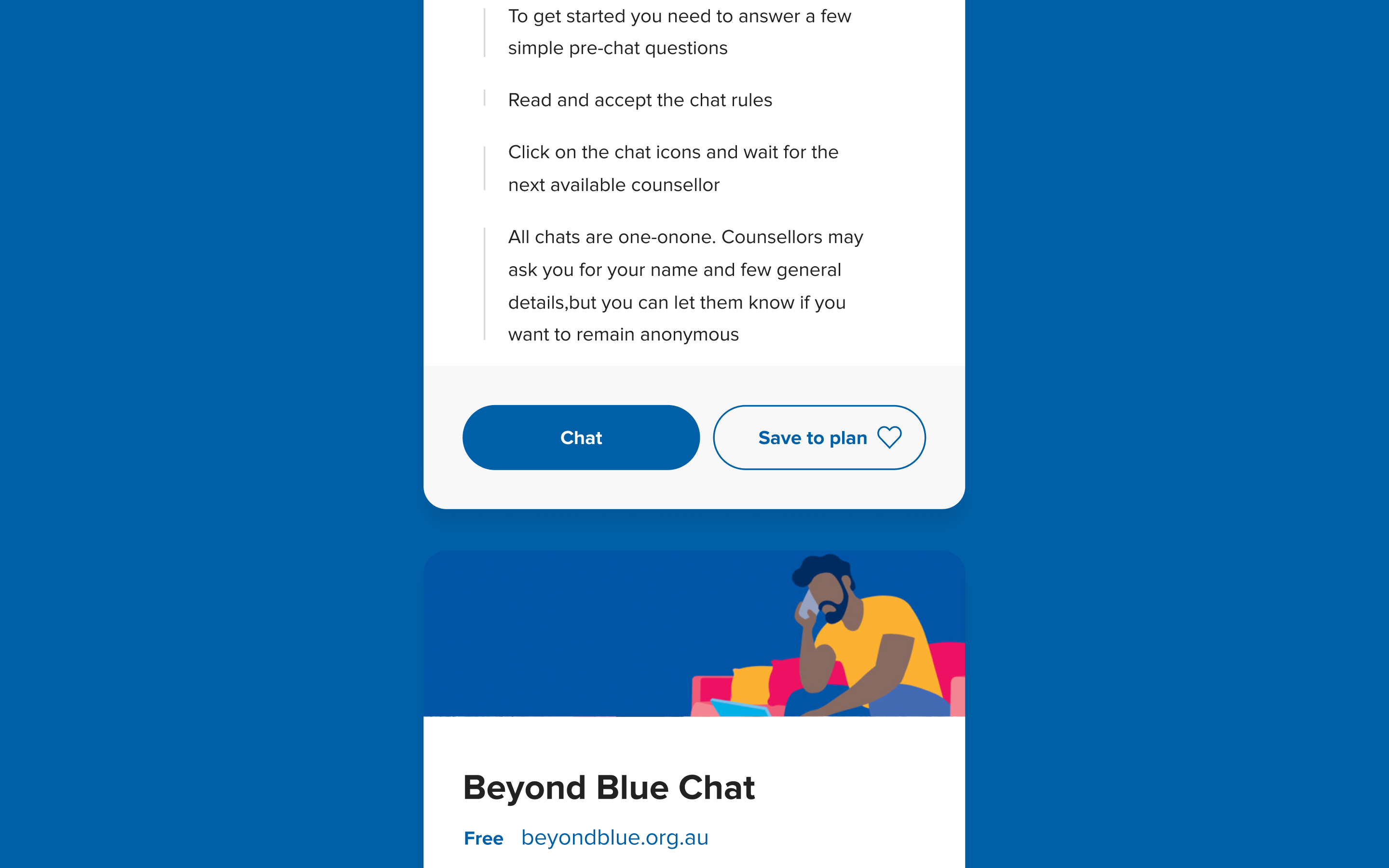 Next Step cards showcasing the Beyond Blue Chat support option