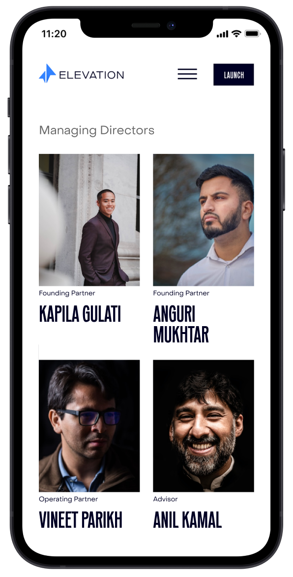 Mobile team page of the new Elevation Capital website