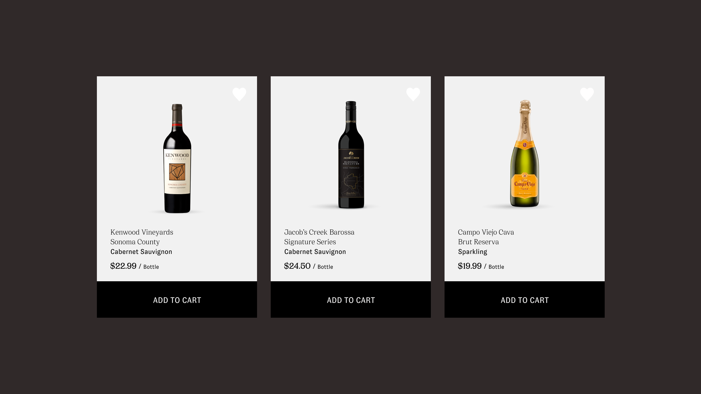 Henry & Paul website screenshot showing various wine product cards