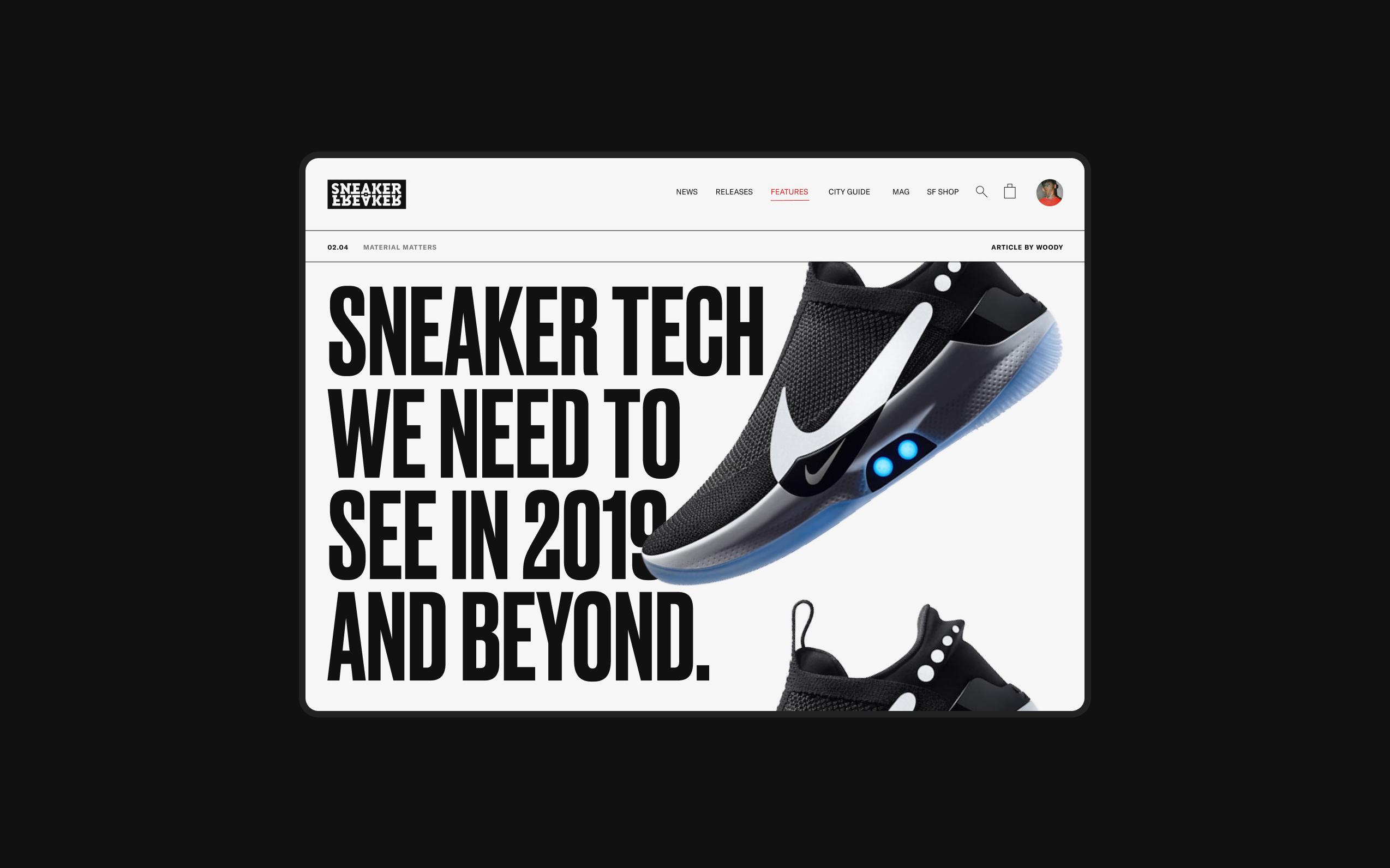 Desktop screen showcasing a large 'sneaker tech' article from sneakerfreaker.com