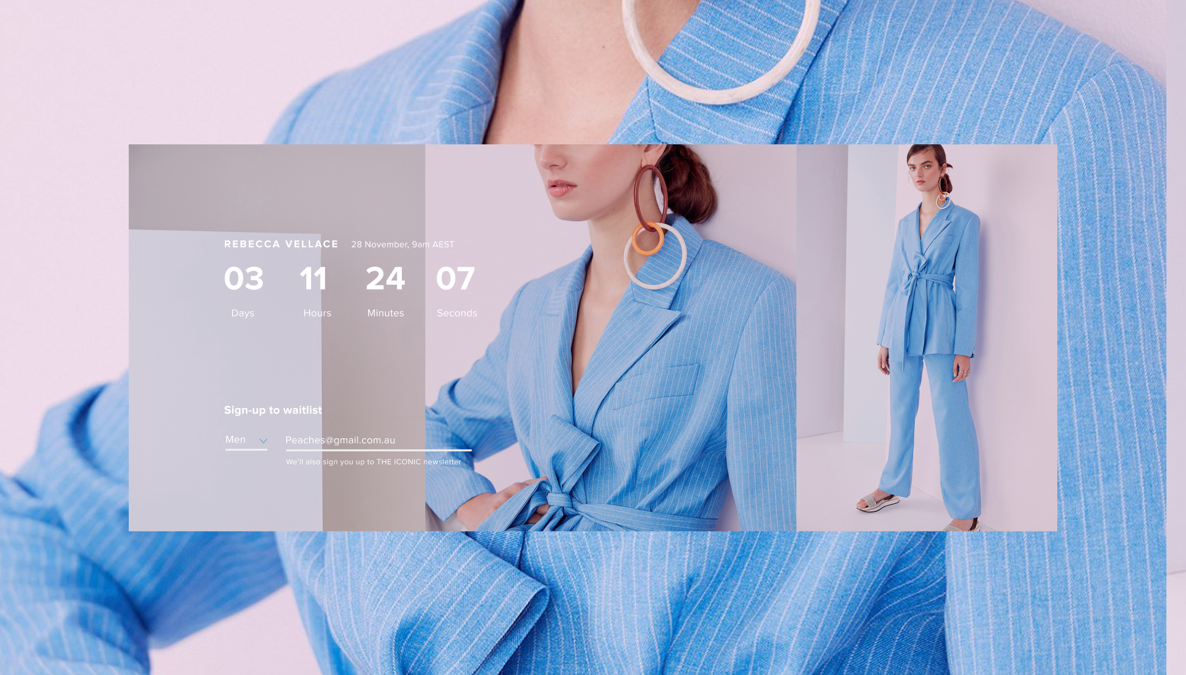 Competition slice on theiconic.com.au featuring a countdown and a woman in a suit