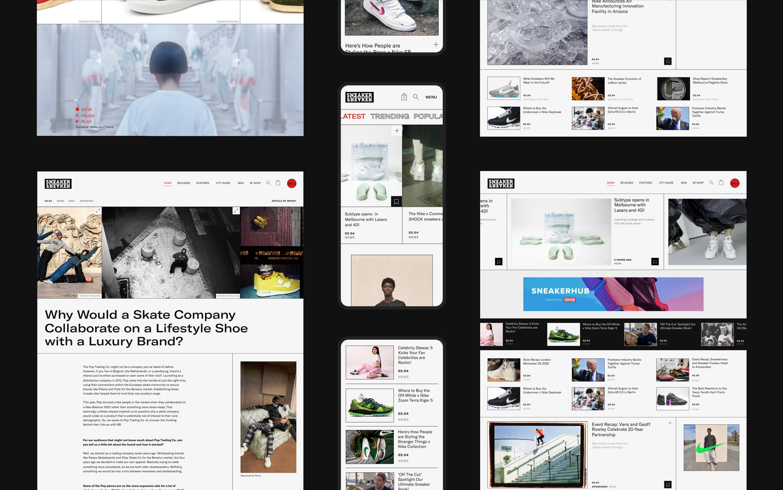Various mobile and desktop screens taken of pages across sneakerfreaker.com