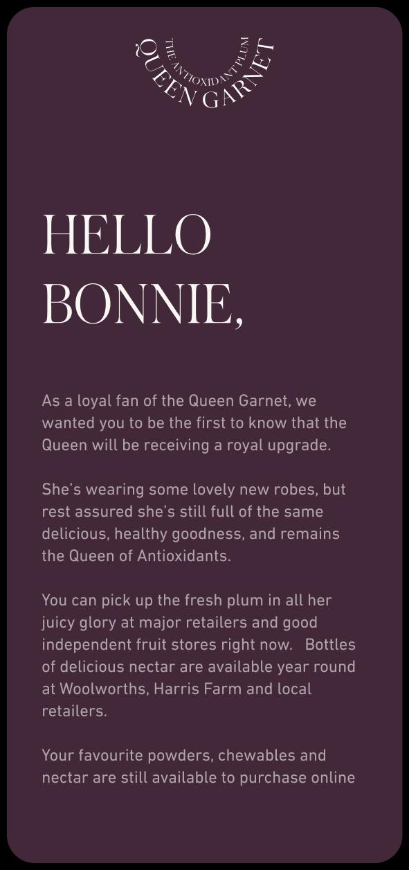 Queen Garnet email first paragraph