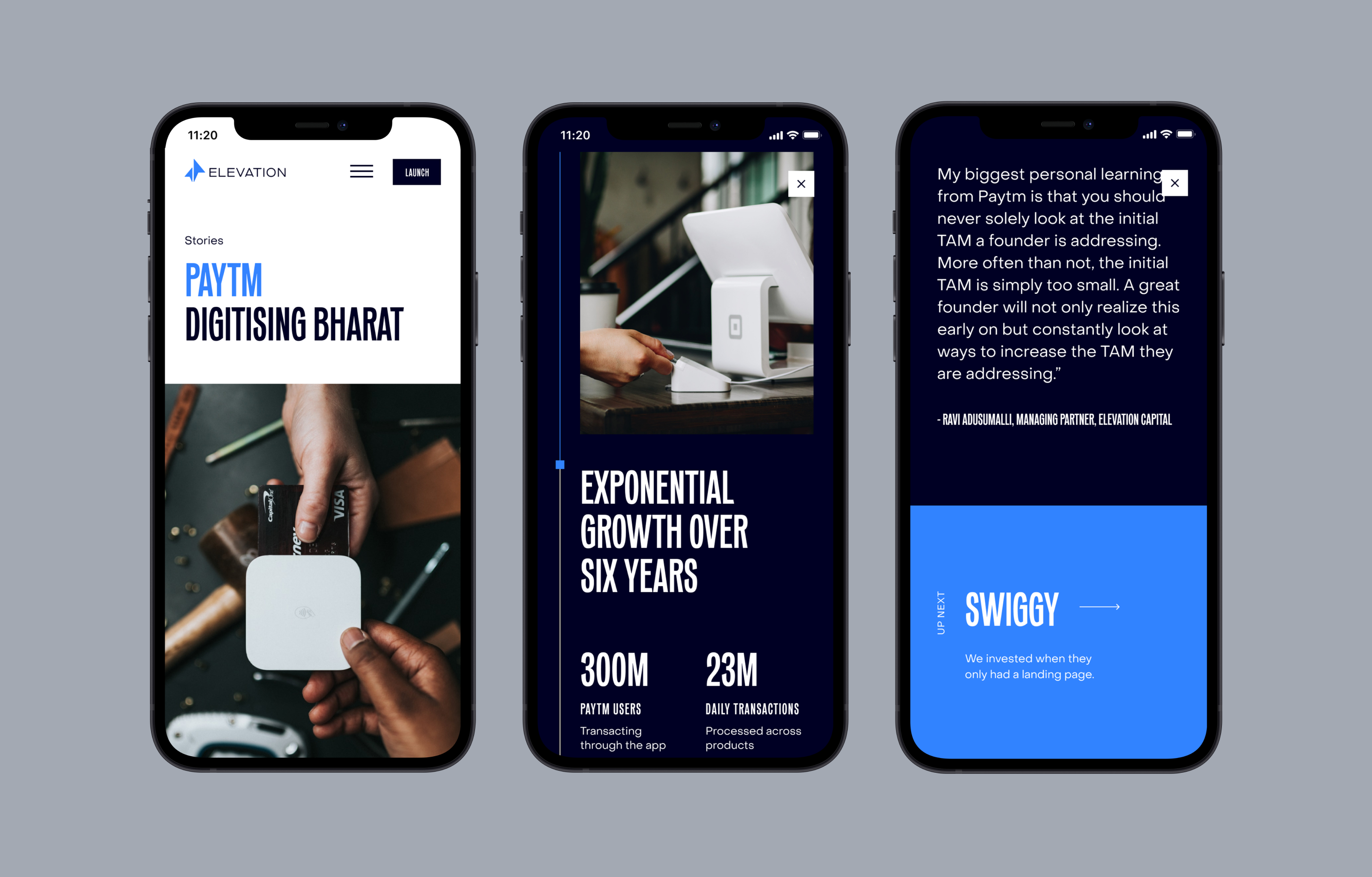 Three mobile screens side by side of various pages across the new Elevation Capital website
