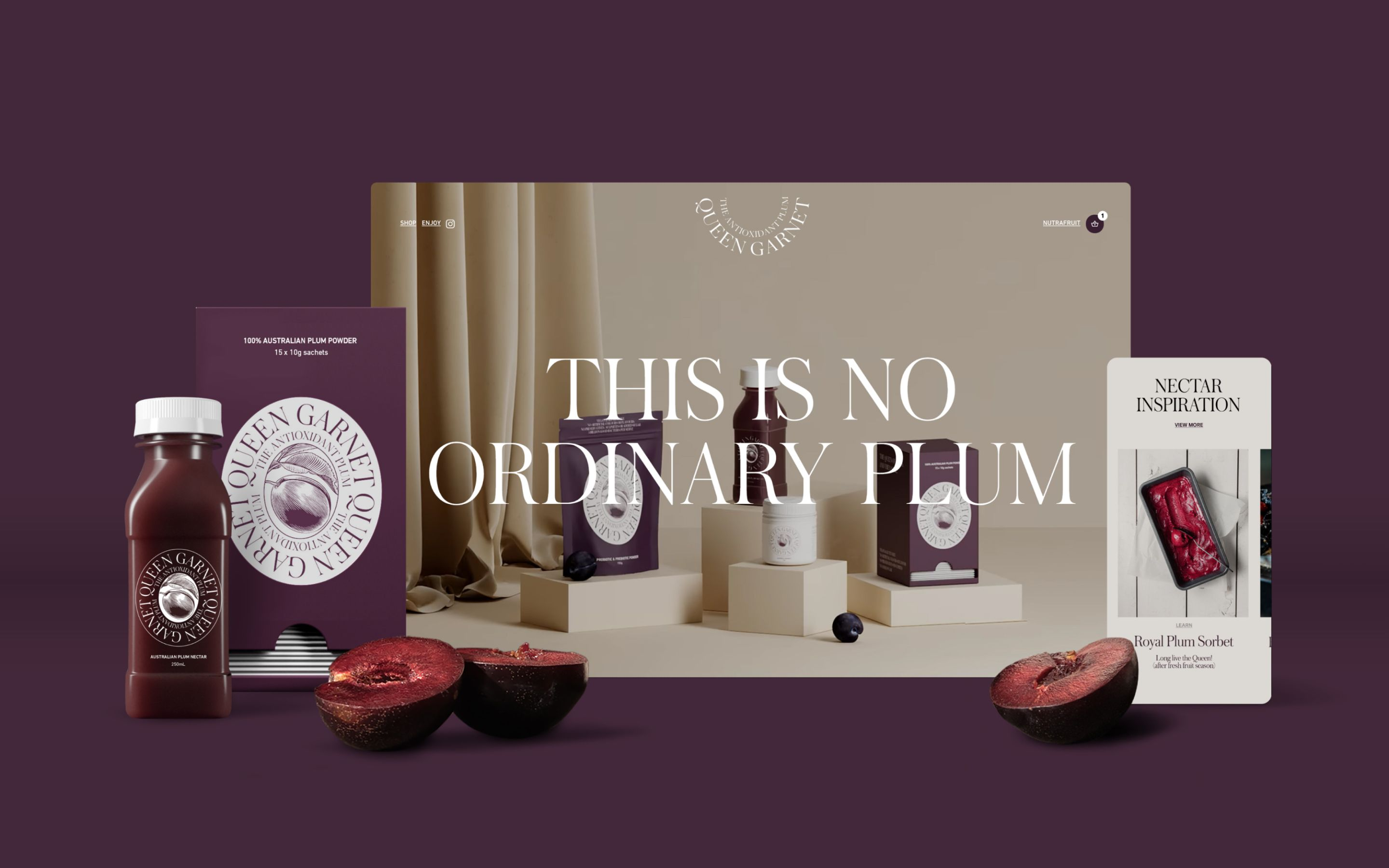 Array of Queen Garnet plums and products, against screenshots of the new website