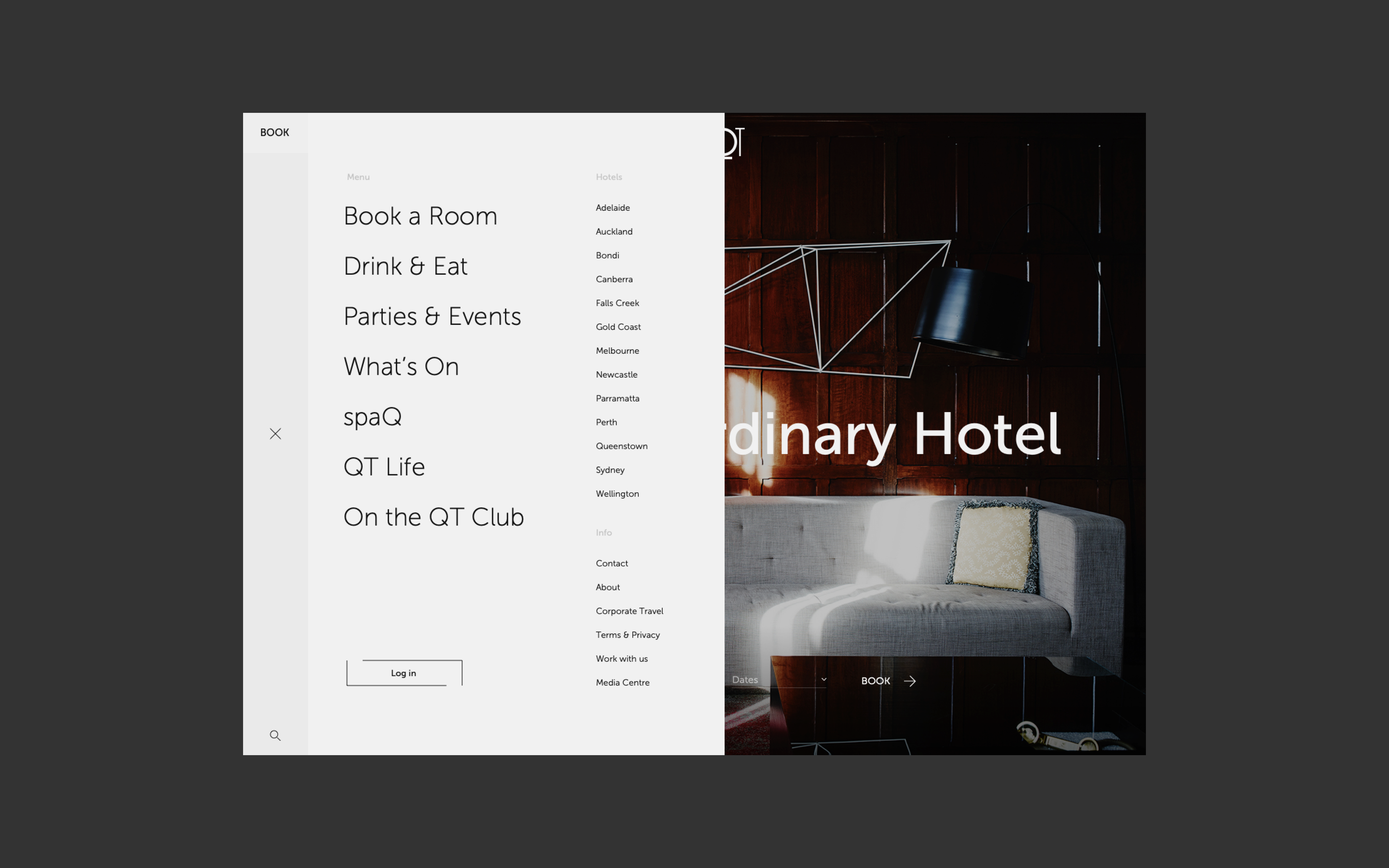 New QT website slide out menu, which features a clean layout with clear CTA's