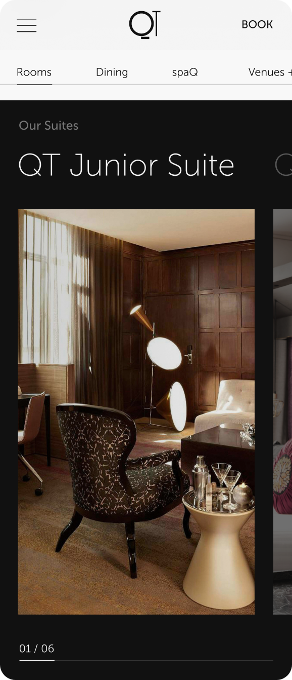 QT website mobile suite screen, featuring large portrait imagery of the suite