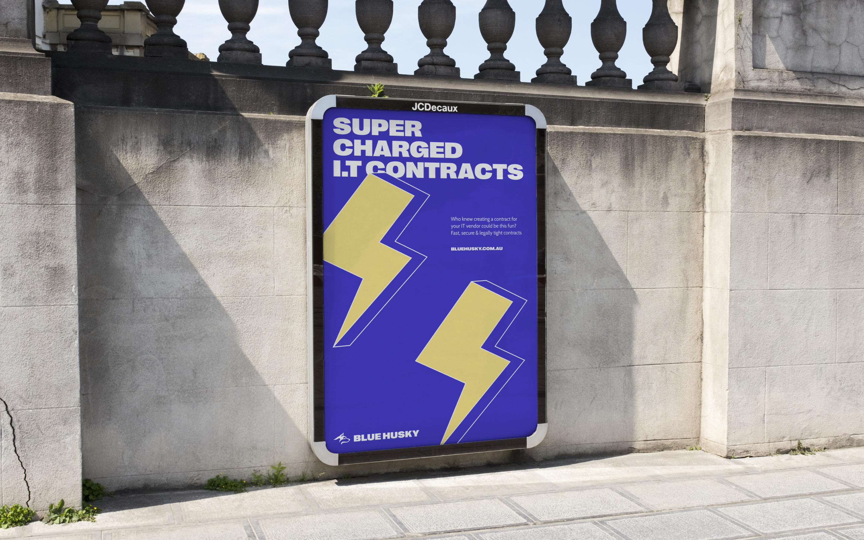 Outdoor billboard, featuring refreshed Blue Husky branding for Super Charged IT Contracts