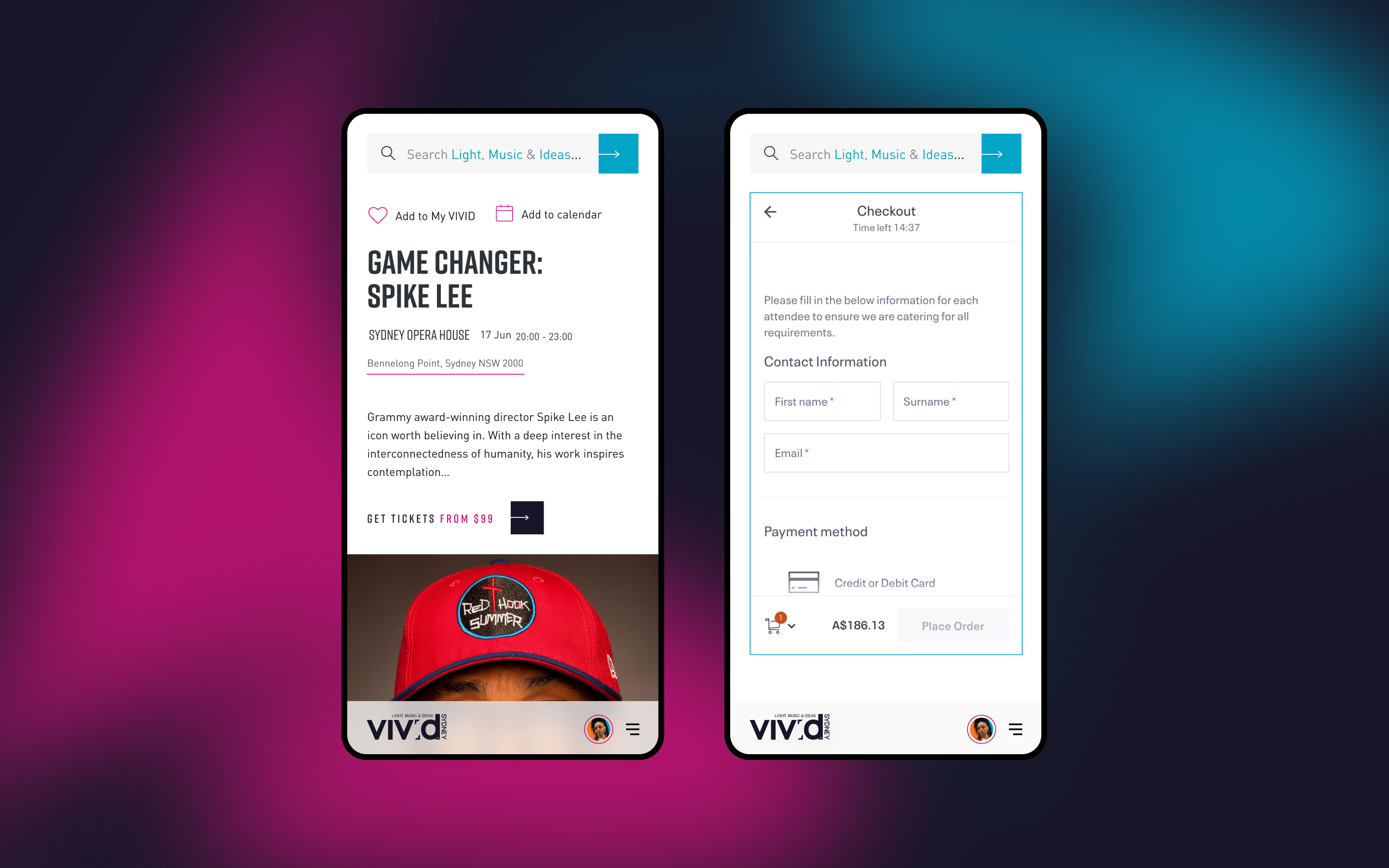 Two mobile screens showcasing mobile event page and integrated checkout