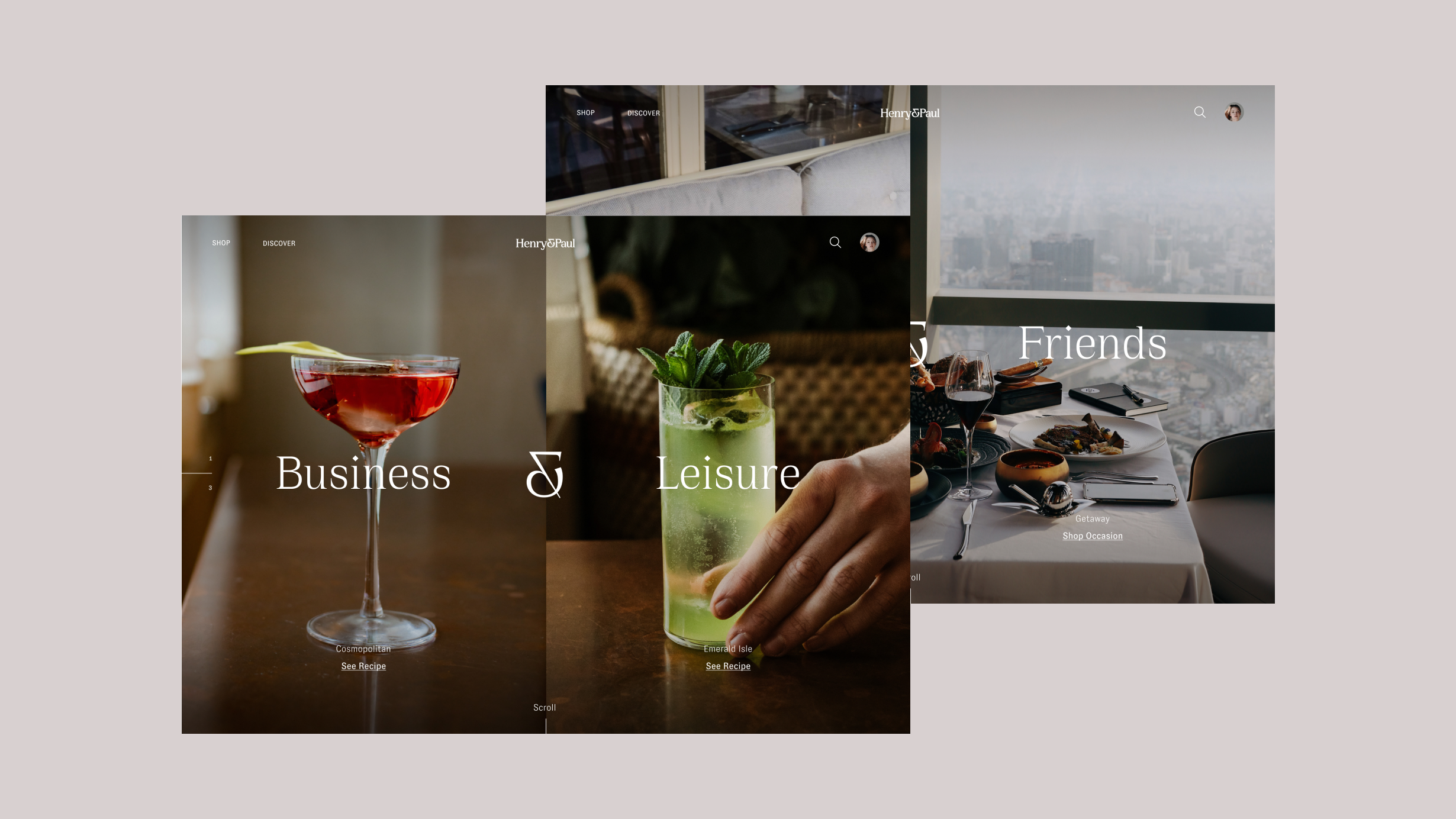 Two screenshots of the Henry & Paul website, showcasing different cocktails