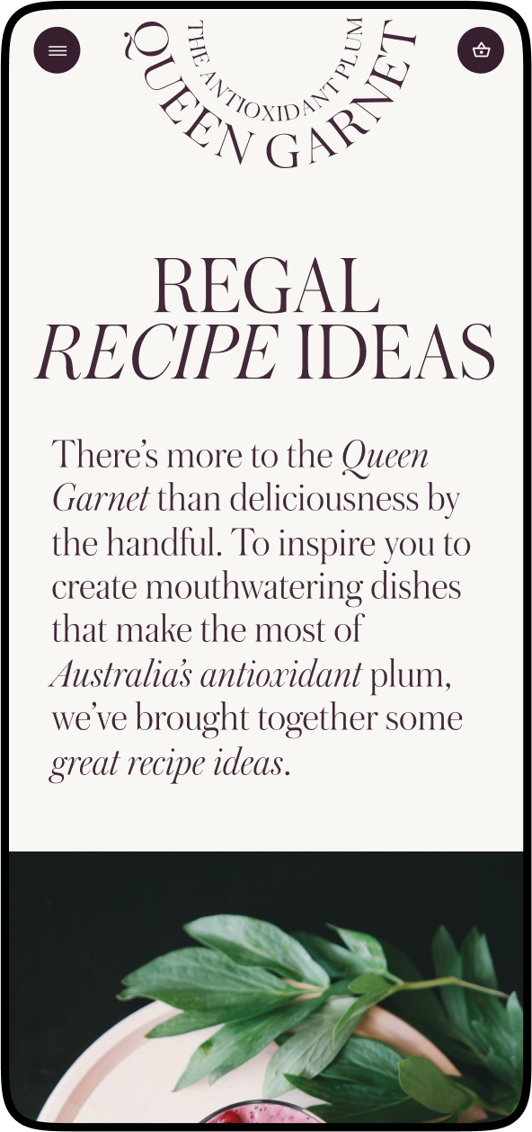 Recipe page from queengarnet.com