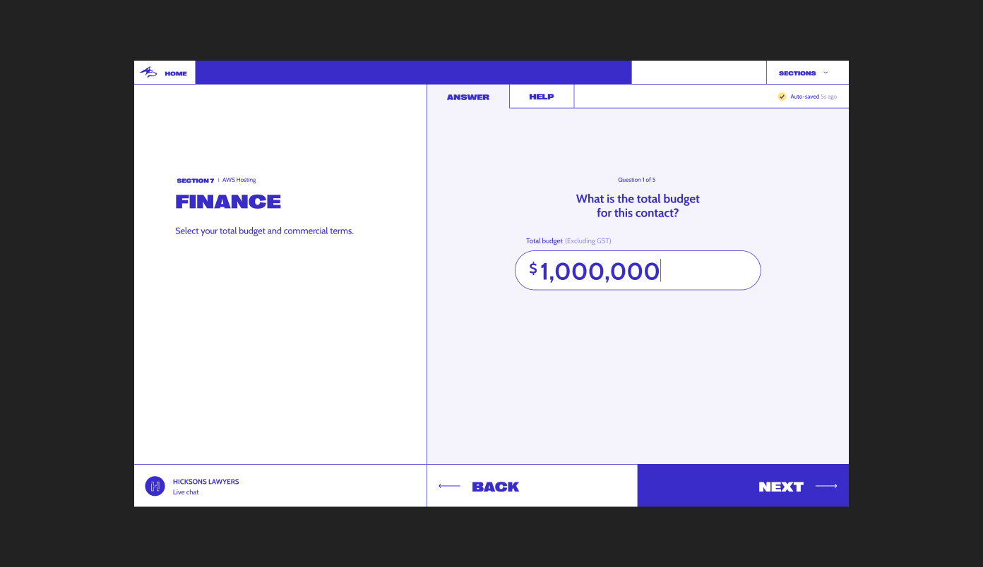 New Blue Husky desktop design, showcasing the total budget screen with large simple entry fields for the user