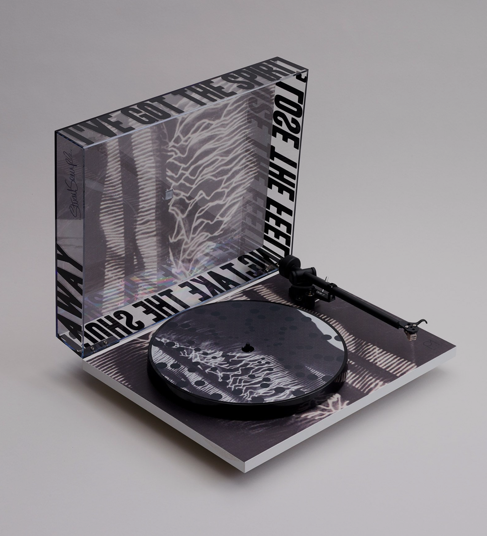 A record player with a dark grungy design