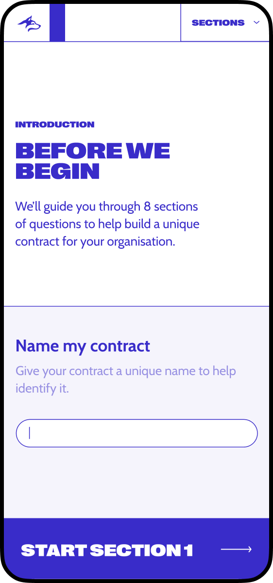 Mobile homepage of the new Blue Husky website design, contract naming