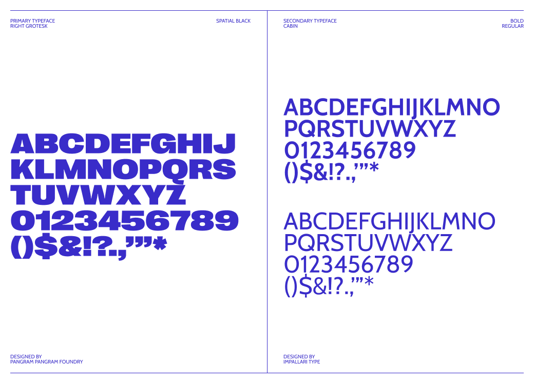 New Blue Husky typeface branding, showcasing all different fonts used