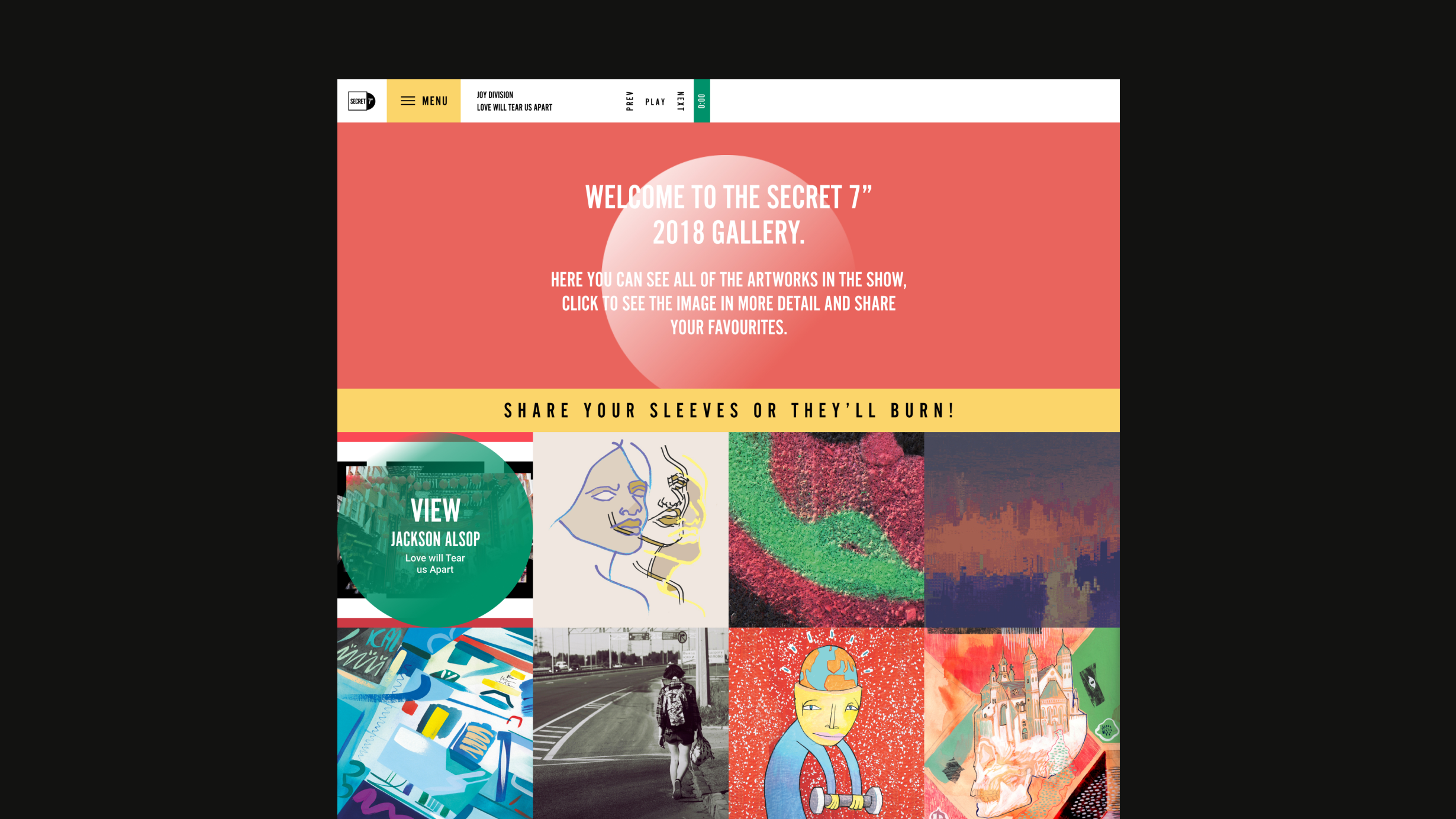 "Secret7"" desktop website gallery view, showcasing various record artworks"