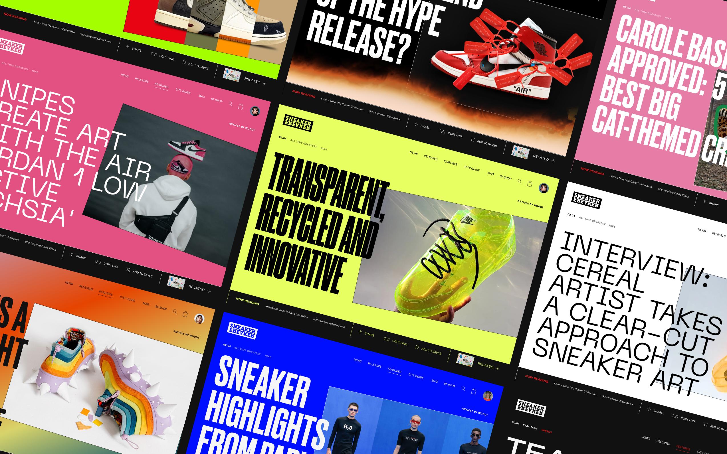 Large grid of sneaker freaker article hero's taken from the website