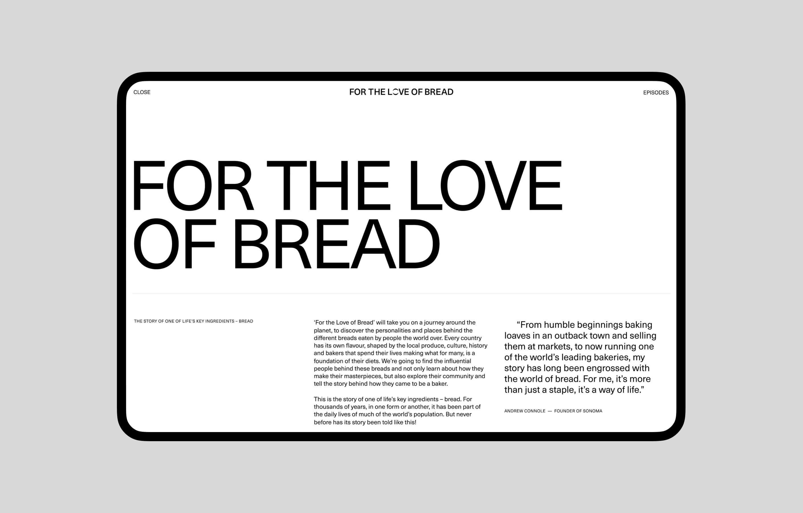 For The Love Of Bread about page screenshot