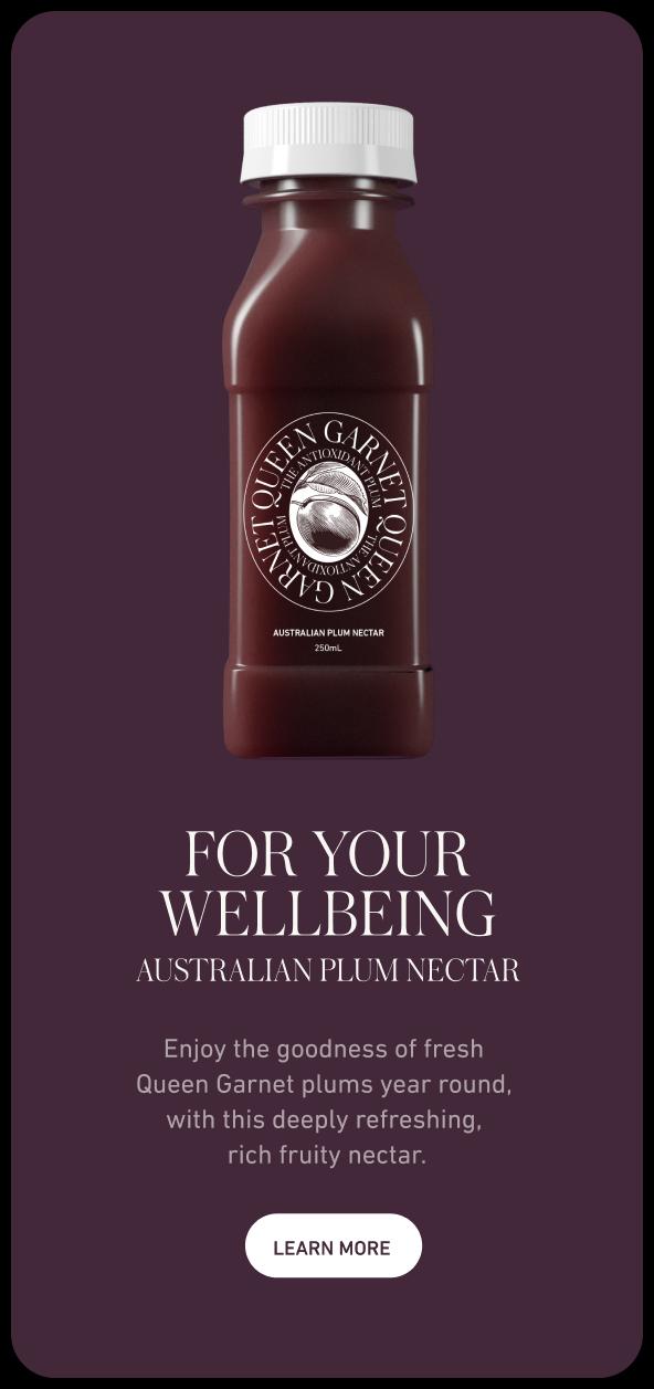 Queen Garnet email showcasing a nectar bottle