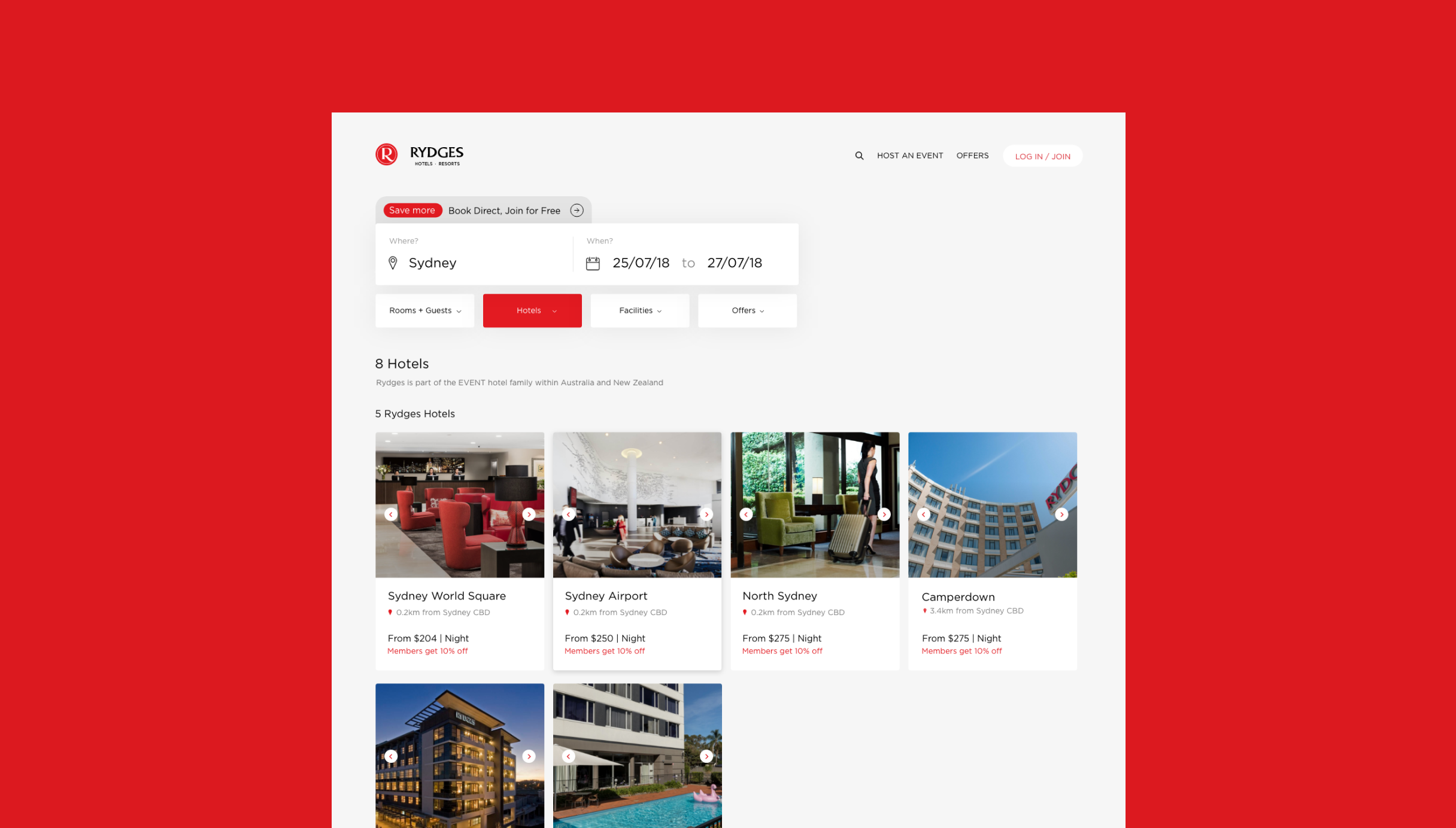 EVENT Rydges new website design, showcasing the new search design