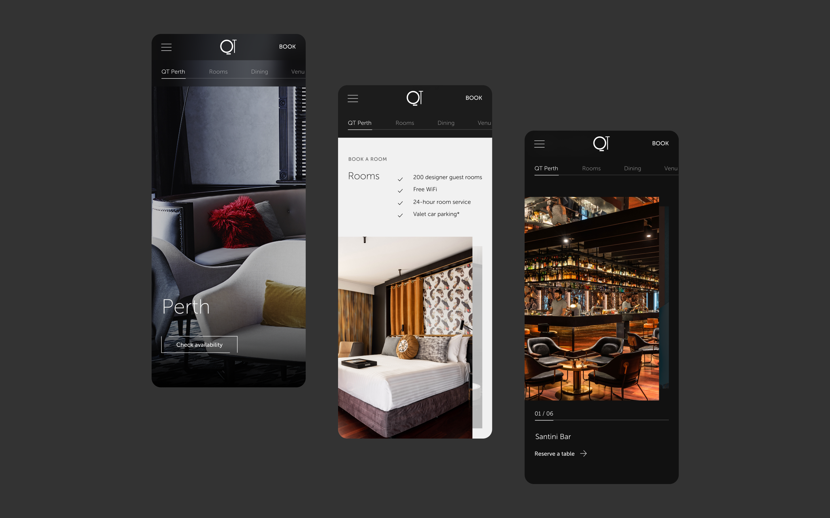 Three QT mobile screens, showcasing the various hotel and room detail screens