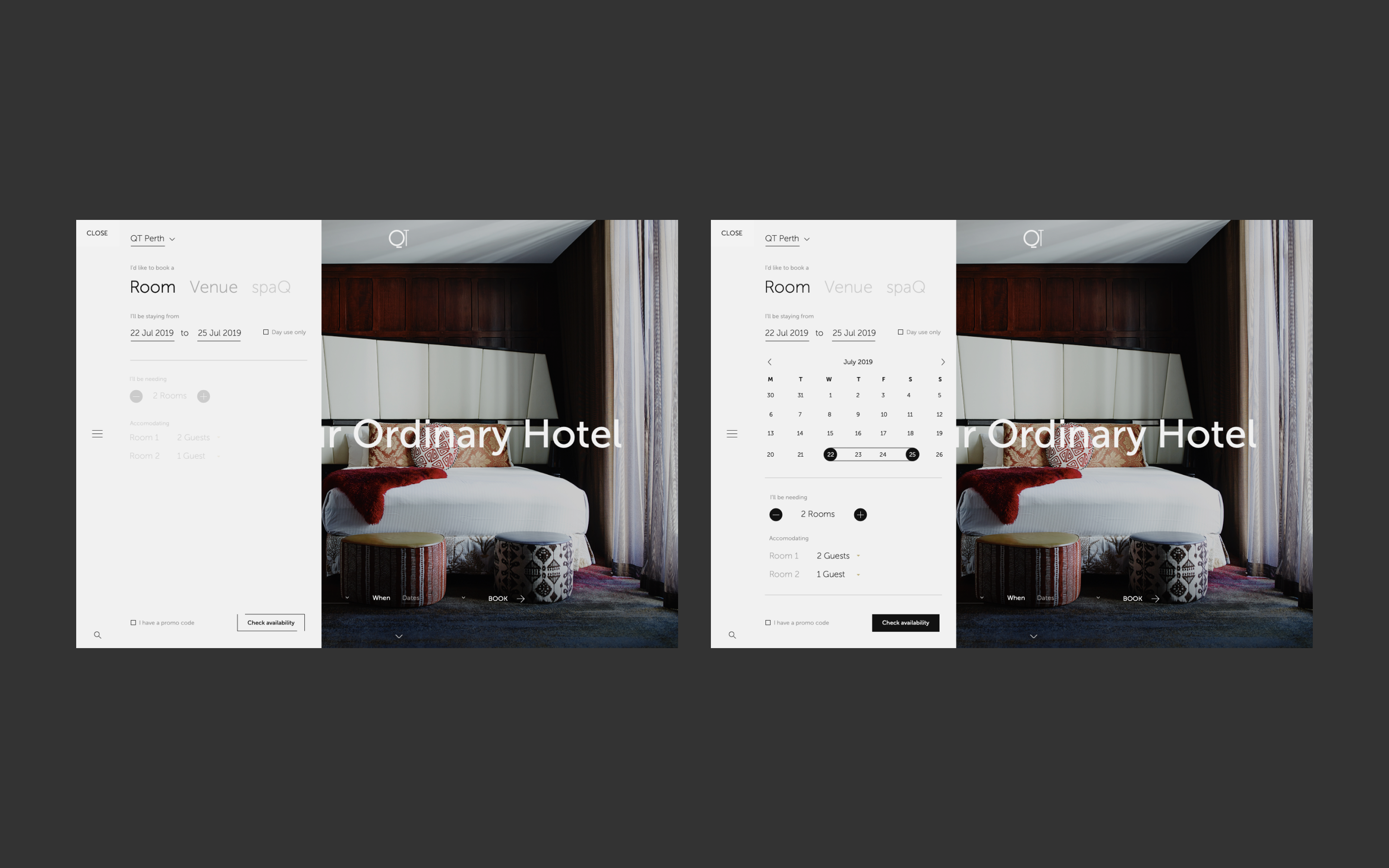 Two images showcasing new QT website desktop booking system