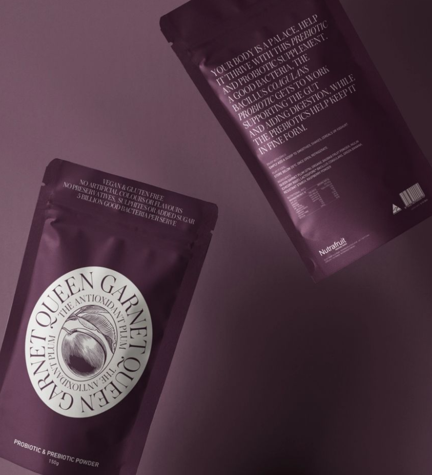 Queen Garnet powder sachets falling, showing both front and back views