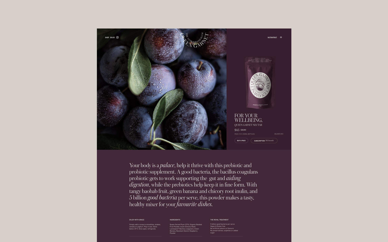 Queen Garnet powder shop page from the Queen Garnet website