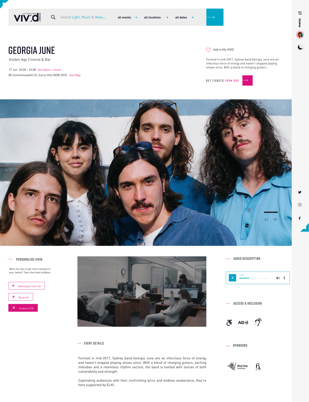 Vivid Sydney website desktop screen showcasing an event page