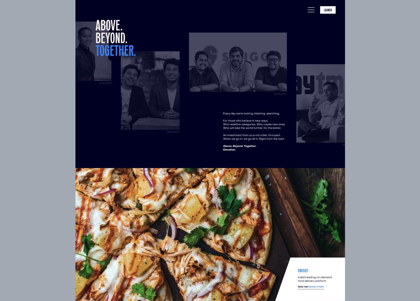 Elevation Capital website homepage, featuring the company manifesto and case study sections
