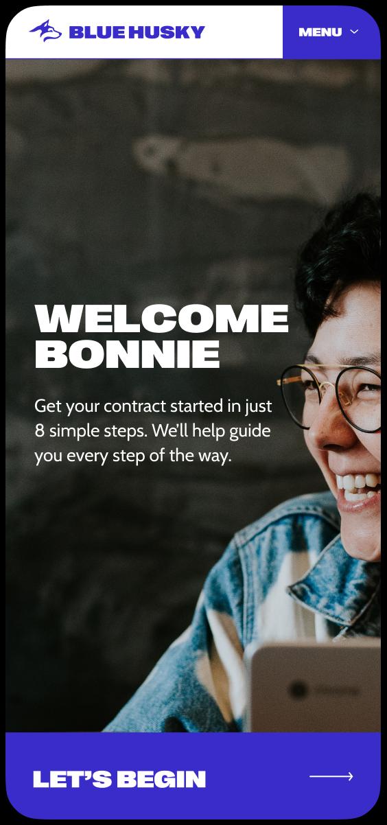 Mobile homepage of the new Blue Husky website design