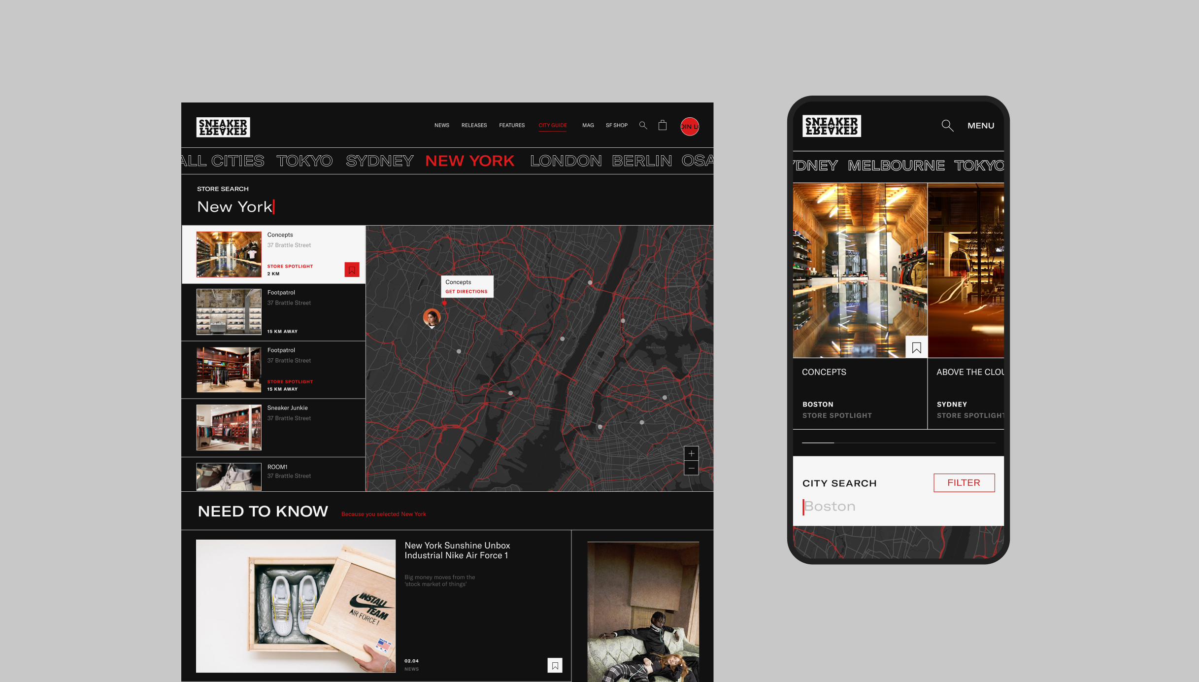 Desktop and mobile screens of the city guides page on sneakerfreaker.com