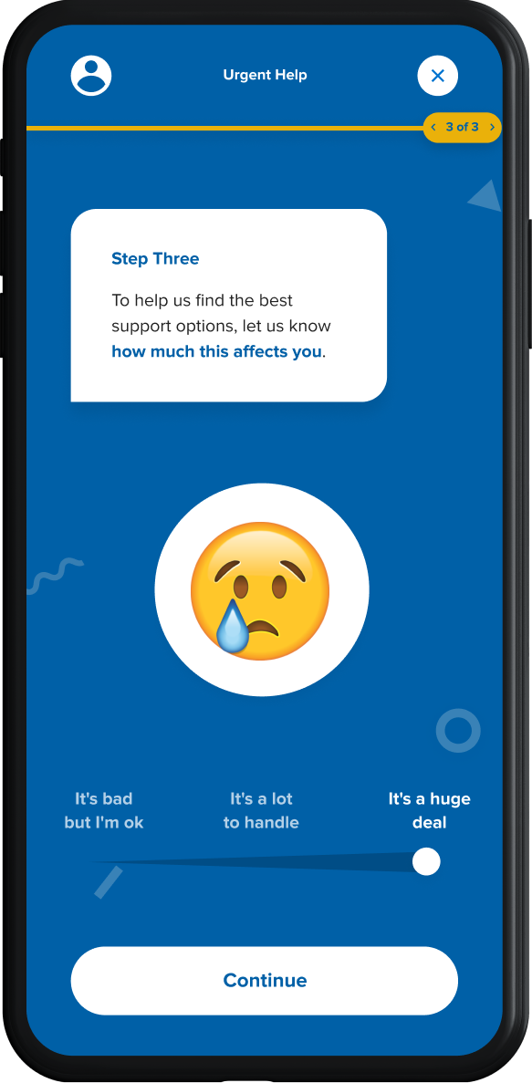 Next Step mobile Step Three, a crying emoji with a slider underneath with emotional ranges