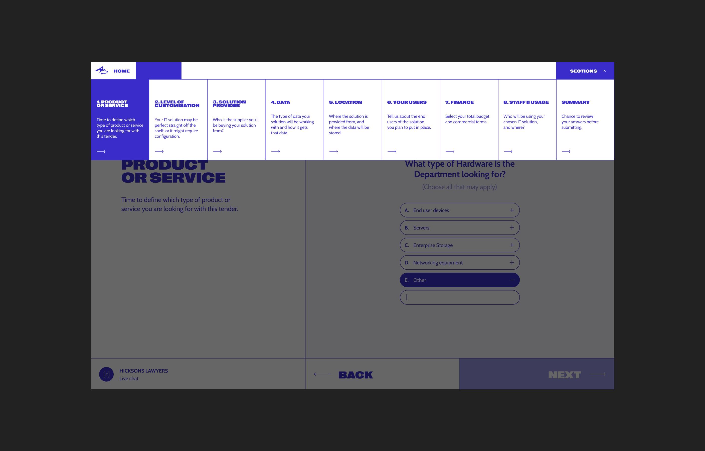 New Blue Husky desktop design, showcasing the simple menu navigation to navigate between sections