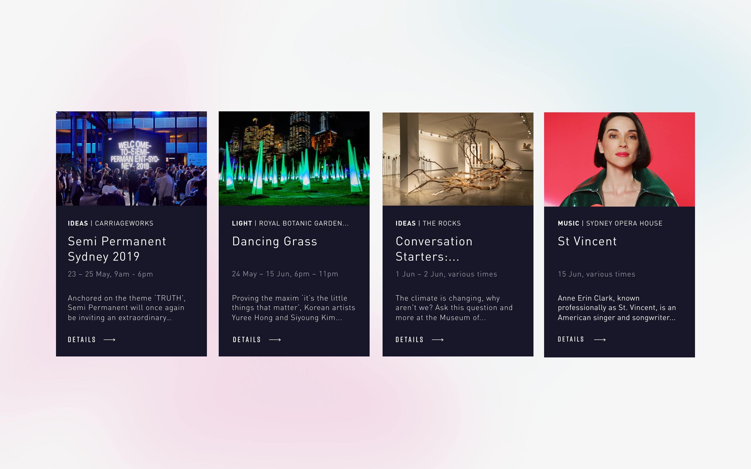 Four event cards from the vividsydney website